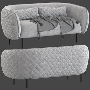 3D model stock nook 3-seater sofa