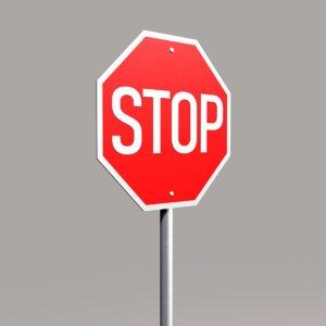 street sign stop 3d max