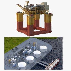 3D model lng port rig