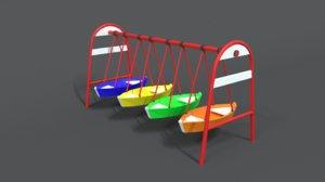 3D luna park boats
