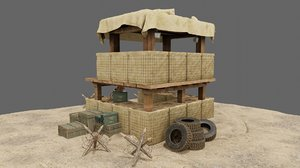 3D military trench tower model