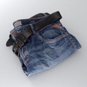 3D mens jeans folded model
