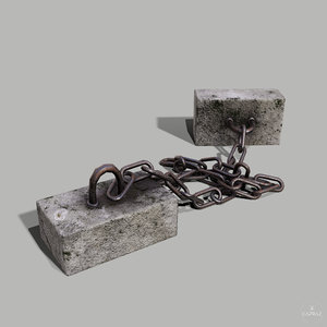 concrete debris - chain 3D