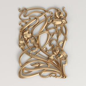 carved decor style art nouveau model