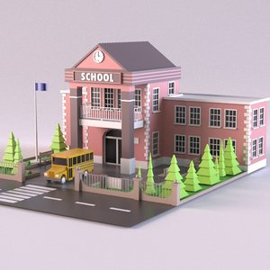 building school bus 3D model