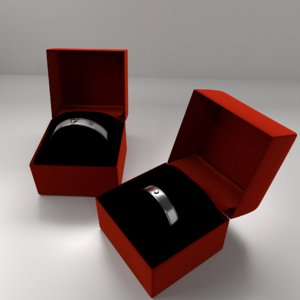 3D couple silver ring diamond