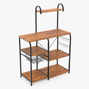 3D model vintage kitchen bakers rack