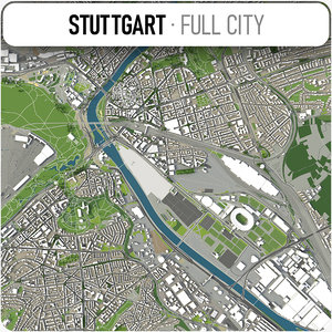 3D city stuttgart surrounding area