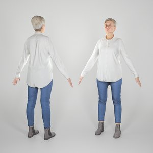 3D ready adult woman a-pose