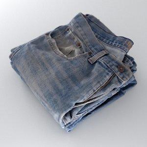 3D model mens jeans stack folded