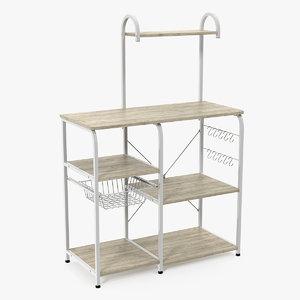 3D model multipurpose kitchen bakers rack