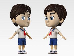 characters schoolboys little boys 3D model
