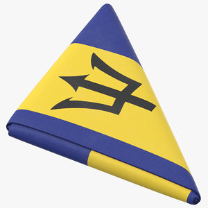 3D flag folded triangle barbados model