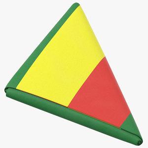 3D flag folded triangle bolivia