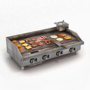 commercial kitchen griddle 3D