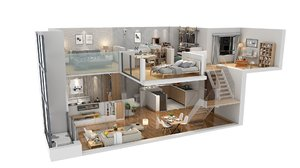 3D floorplan apartment duplex