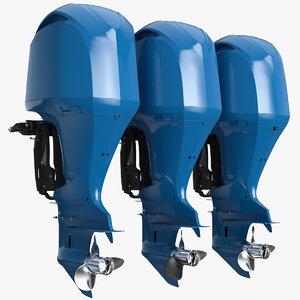 triple outboard motors 3D model