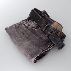 mens jeans folded 3D model