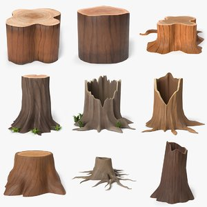 cartoon tree stump 3D model