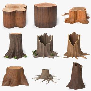 cartoon tree stump 3D model