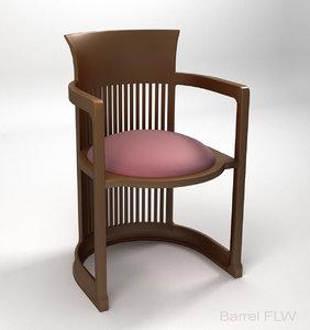 frank lloyd barrel chair 3D model