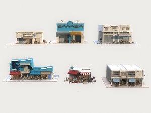 3D city destruction buildings animation model