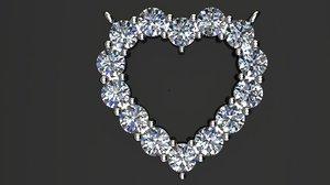 diamond heart pendant necklace 3D model