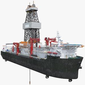 drillship drilling ships 3D model
