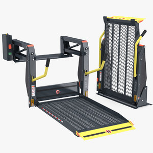 3D hydraulic wheelchair lift rigged model