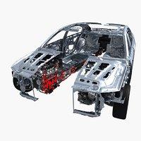Car Frame Chassis Engine Cutaway