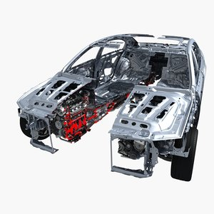 3D car frame chassis engine cutaway