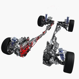 chassis engine cutaway 3D model