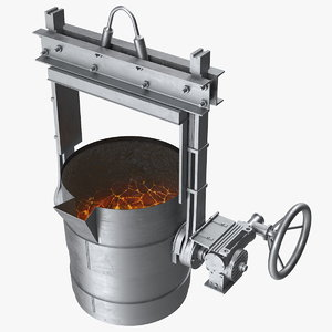 3D ladle filled molten metal model