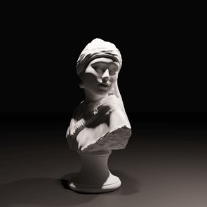 girl pearl earring print 3D model