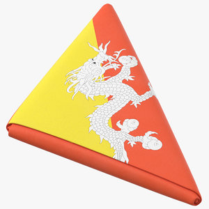 flag folded triangle bhutan 3D