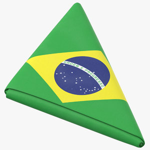 3D flag folded triangle brazil model