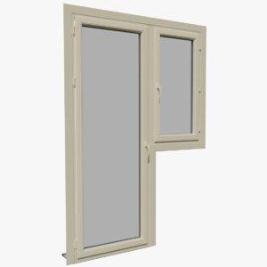 pvc combined window door 3D model