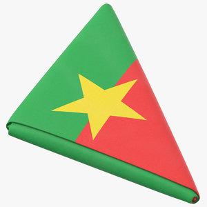 3D model flag folded triangle burkina