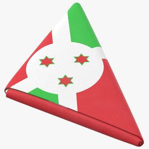 flag folded triangle burundi 3D model