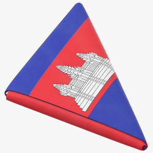 flag folded triangle cambodia 3D