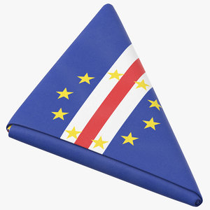 3D model flag folded triangle cape