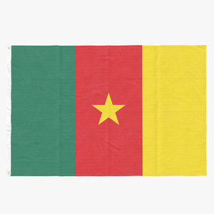 flag laying pose cameroon 3D model