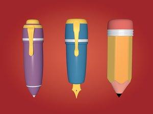 cartoon pencil pens 3D