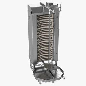 3D vertical rotisserie grill doner