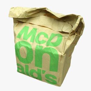 3D mc donalds paper bag model