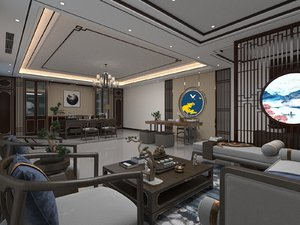 3D living dining room combo