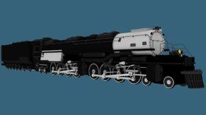 steam engine locomotive low-poly 3D