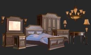 3D vintage furniture bedroom pack model