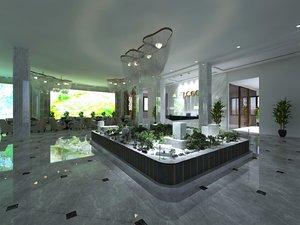 3D interior scene hotel company model