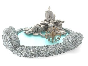 decorative pond water wheel 3D